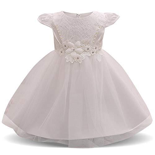 QJKai Enfants de Perles Brillantes Robe Tout-Petit bébé Robe Courte Manche Petite Fleur Enfants Princess Dress
