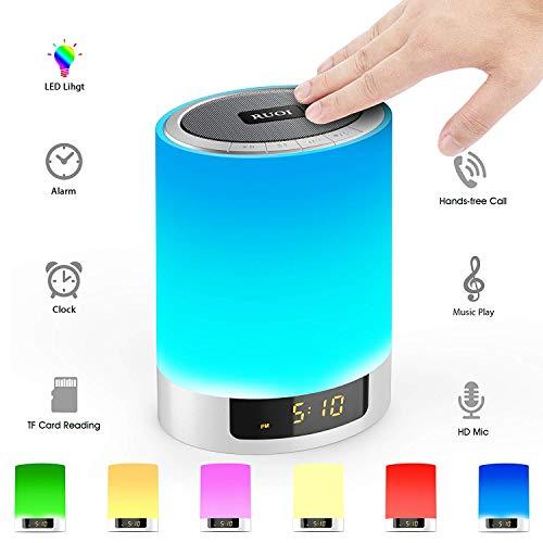 HFYAK Nachttischlampe, Wake Up Light Wecker, LED Buntes Wecklicht, Subwoofer Drahtloser Bluetooth Lautsprecher, Desktop Wecker, Stimmungslicht (Digital Designs Subwoofer 15)