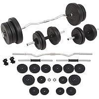 vidaXL Juego de Pesas 60kg Barra y Mancuernas Fitness Musculación Gimnasio Gym