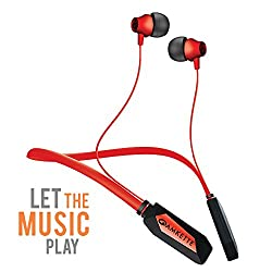 Amkette Trubeats Urban Bluetooth Wireless Headphone with Mic, 18hrs Marathon battery life, Feather Light Weight, Rich Bass Drivers and Magnetic Lock comes with Hassle Free 1 year warranty (Black) (Red)