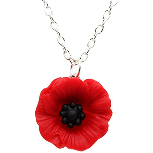 Sterling Silver Large Heart Pendant Made With Real Poppies xd4zxDir