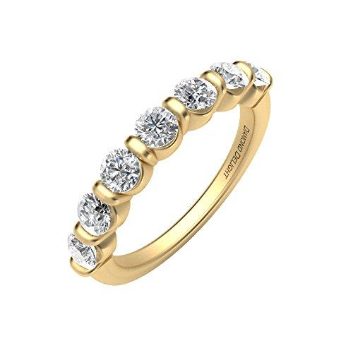 Diamond Delight da donna 18 K, 7 canali di pietra, VVS1-Anello nuziale, VVS2 1 k) e Oro giallo, 13,5, cod. RG34549-VVS1VVS2-18KY-7