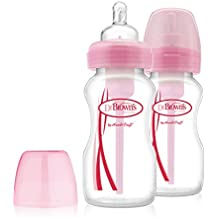 Dr Brown's Options Wide Neck Bottle (270 ml, Pink, Pack of 2)