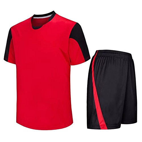 KINDOYO Child Adult Football Clothes Kit Sportswear Short Sleeve T-Shirt & Shorts Set Sports Team Training Competition Costume, Red/2XL