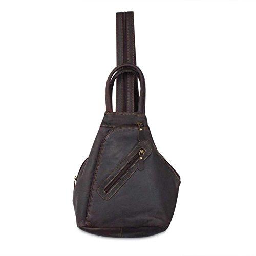 STILORD Damen Rucksack Vintage mit Henkel robustes Büffel Leder dunkel Braun