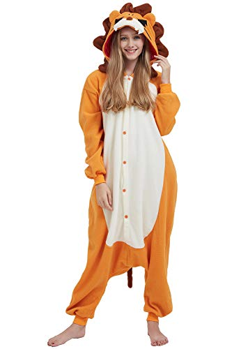 Herren König Löwe Kostüm - Pyjama Tier Cosplay Kigurumi Animal Löwe Cartoonstil Plüsch für Unisex Damen Herren
