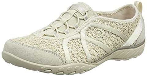 Skechers Breathe-Easy - Sweet Darling, Damen Sneakers, Beige (Natural/Silver), 40 EU