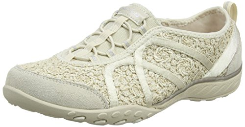 Skechers Women Breathe-Easy-Sweet Darling Low-Top Sneakers, Beige (Natural/Silver), 6 UK 39 EU