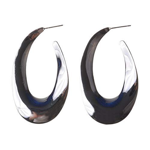 LJG-Halskette 1 para Mode Frau mädchen Legierung Ohrstecker einfache geometrische Form zubehör Geschenk für Geburtstag Valentinstag Hochzeit (Farbe : Silber)