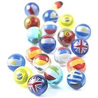 MARBLEFLAGS 20 CANICAS de Cristal con Banderas de Paises | Ideal para Circuitos de Canicas