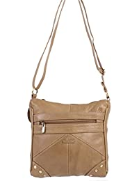 LADIES GENUINE LEATHER CROSS BODY BAG (REF3768) (Fawn)