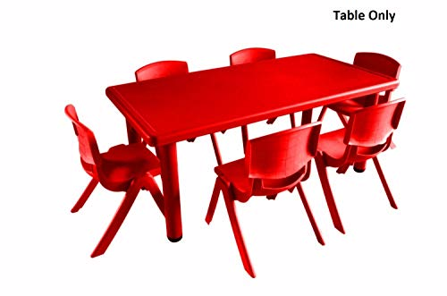 Intra Kids Strong And Sturdy School Study Table Without Chairs - Rectangle (Red)