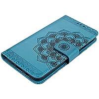 DENDICO Funda Galaxy J7 2017, Funda de Cuero Cover Protectora Carcasa Billetera con Ranura para Tarjetas y Cierre Magnético para Samsung Galaxy J7 2017 - Azul