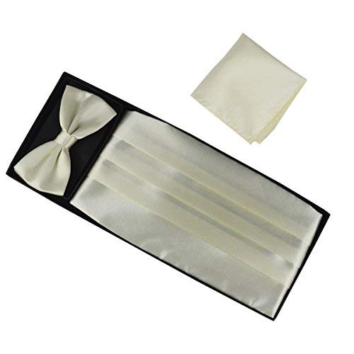 Panegy Herren Fliege Kummerbund Einstecktuch Set Unifarben Fliegen für Hochzeit Bowtie Party Men Bow Tie Cummerbund Set - Beige Party Bow Tie