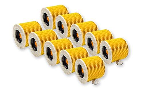 10x vhbw® Patronenfilter/Filter Set für Kärcher Staubsauger/Waschsauger/Industriestaubsauger/Nasssauger - Trockensauger/Mehrzwecksauger
