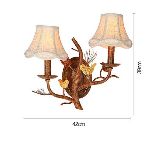 B&D BD Nachttischlampe House Creative, 42 * 39cm Hotel Villa Birdie Aisle Branches Wandleuchte, europäischer Lampenschirm, warmes Licht,B -