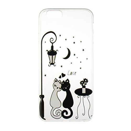 Meet de Etui / Cover / Case / Coque / Protection Coque Étui Case Cover Coque TPU Housse pour Apple iphone 6 /iphone 6S - peint Moonlight Cat