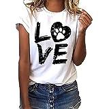 T-Shirt Femmes Moulant,Manches Courtes en Vrac,Tops Sport Simpe Casual,Blouse Basique-Blanc Chat Love,S