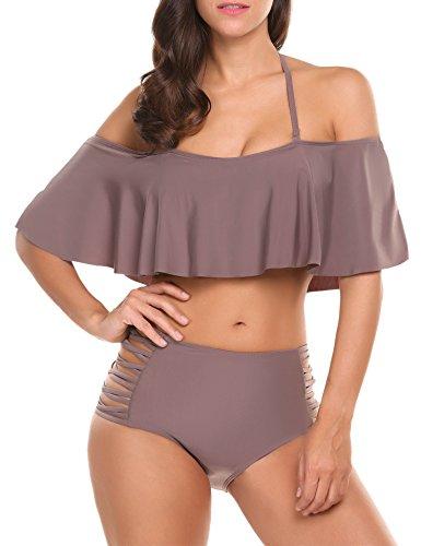ADOME Damen bikini high waist mädchen Push Up Beaderock Neckholder Bikini-Sets Bandeau Badeanzug Bademode swimwear swimsuits, Braun, Gr. Medium (Ruffle Bandeau)