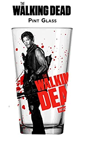 Walking Dead Daryl White Pint Glass, Set of 1 (Single Piece Packed)
