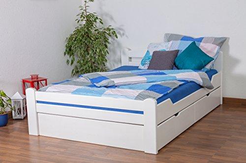 """Einzelbett/Funktionsbett\""""Easy Premium Line\"""" K4, inkl. 2 Schubladen und 1 Abdeckblende, 140 x 200 cm Buche Vollholz massiv weiß lackiert"""