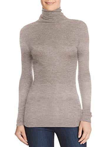 Damen Frauen Langarm Rollkragen - Rolli - Rollkragenshirt - Turtleneck T Shirt(Beige, M)
