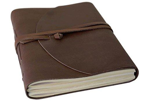 Enya Handgemachtes Notizbuch aus Leder, Seiten aus 100% Baumwolle (15cm x 20cm)