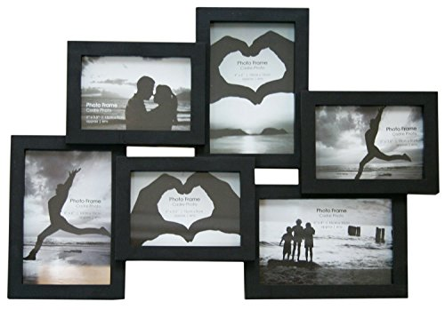 6 Multi Collage Photo Frame - Black by Carousel Home - Horizontale Mehrfach-bilderrahmen
