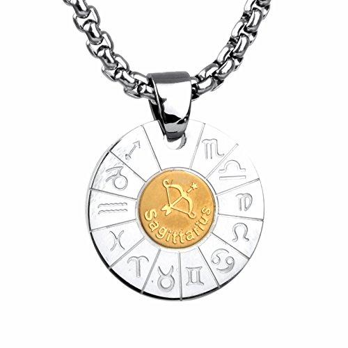 COPAUL Schmuck Edelstahl Tierkreis Sternzeichen Schuetze Anhänger Kette Halskette für Herren Damen, Gold Silber