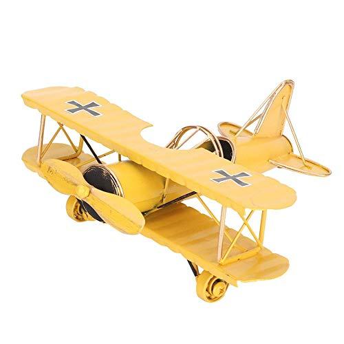 Biitfuu Rétro modèle d'avion biplan métallique Avions modèles d'aéronefs pour la décoration de Bureau pièce Grand Souvenir(Jaune)