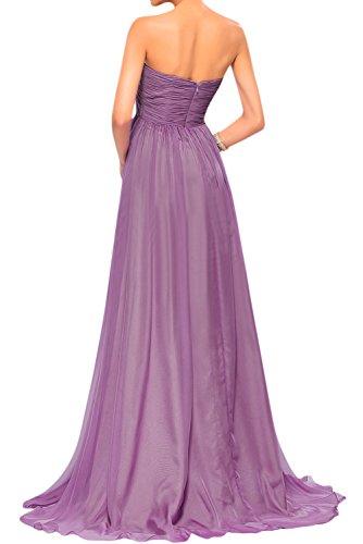 Gorgeous Bride Traumhaft Lang Trägerlos Empire Chiffon Abendkleider Lang Cocktailkleider Ballkleider Rosa