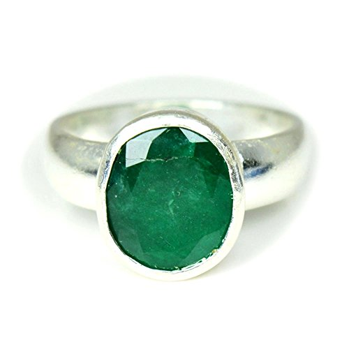 jewelryonclick 5?Karat Smaragd natur Echter Stein 92,5?Sterling Silber f?r Herren Ring Gr?sse UK J 1/2???Z - 62 (19.7) (Ring Herren Emerald)