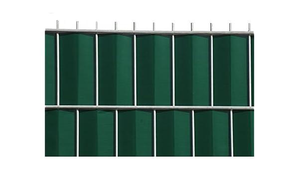 silbergrau Rolle /á 35 m inkl 12 Stk Klemmschienen Zaun-Nagel Sichtschutz zum Doppelstabzaun