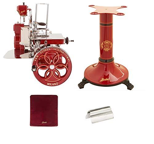 Berkel - Schwungrad B114 - Berkel Rot mit Golddekor - Geblühtes Schwungrad + Roter Slicer Deckel + Schinkenzange + Sockel