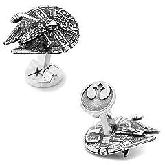 Idea Regalo - Star Wars Gemelli Millennium Falcon, con Logo Rebel Alliance sul Retro, Colore Argento, in Confezione Regalo