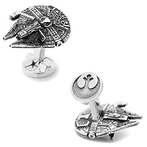 Star Wars Manschettenknöpfe Millennium Falke Millennium Falcon 3D Silberfarbe Rebellenallianz Logo Silber auf der Rückseite in Geschenkbox