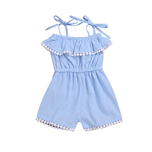 Allegorly Jumpsuit Mädchen, Bodysuit Sommer Playsuit Rüschenquaste Babystrampler Spielanzug Schlafanzug Schlafstrampler ärmellos Romper Baby Kleidung Mädchenkleidung