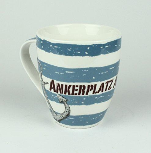 Buddel-Bini Maritimer Becher Ankerplatz Anker gestreift Tasse Kaffee Becher Andenken weiß blau