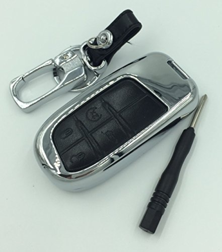 Jeep Car Accessories Styling Zink Legierung & Echt Leder zusammenklappbar Smart Schlüsselanhänger Key Cover Case Wallet Fold Schlüsselanhänger Key Ring für Jeep Compass/Grand Cherokee 3Buttons (Schlüssel Modell C schwarz)