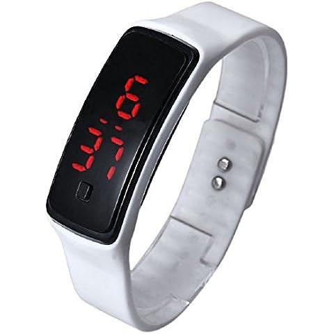 Digital LED Reloj de pulsera - SODIAL(R)Moda Ultra-delgada chica hombres silicona digital LED deportes reloj de pulsera (blanco)