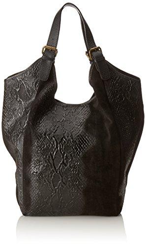 CTM Borsa a mano da donna, borsa a sacca in vera pelle made in Italy fantasia Animalier 46x37x5 Cm Nero