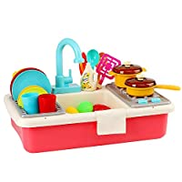 QPP-CL Play Kitchen Accessories Toy Sink Playset with Running Water And Pretend Plates Dishes Utensils Set Dishwasher Cookware Drainer Gift for Kids Toddlers Child Baby