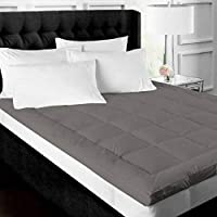 Jaipur Linen 500GSM Hollow Fibre Mattress Padding/Topper for 5 Star Hotel Feel- Grey-Queen Size Bed-60 Inch X 78 Inch
