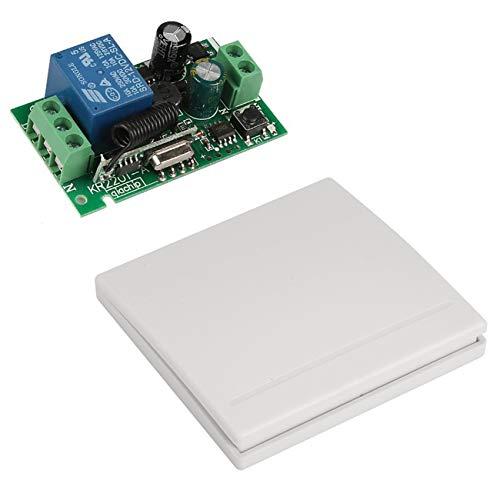 YLX 433 MHz AC 220V Interruttore di controllo remoto a canale Mini modulo ricevitore rele' wireless + Interruttore a muro per trasmettitore RF 433 MHz Box auto (1+1)