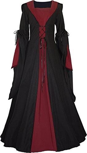 Dornbluth Damen Mittelalter Kleid Milienn Schwarz (44/46 kurz, Schwarz-Bordeaux)