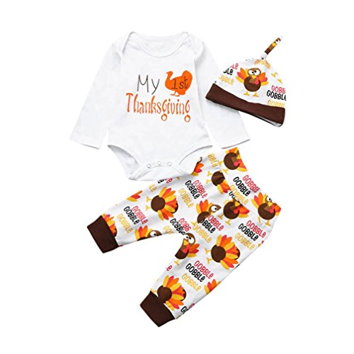 enes Baby Boy Boy Brief Strampler Tops + Pants Thanksgiving Outfits Set (Weiß, 100 / 18Monat) (Thanksgiving Outfit Baby)