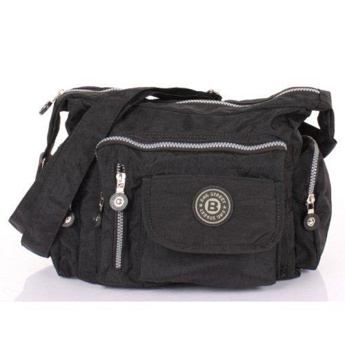 Preisvergleich Produktbild Bag Street Damen Nylon Shoppertasche Umhängetasche Crossover Bag Schultertasche Schwarz