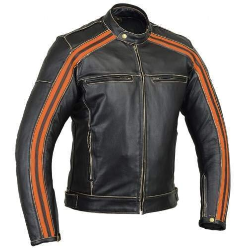 Retro Schwarz Cafe Racer die Bonnie 100% Bovine Leder Motorrad-Jacke CE Armoured-Orange Harley Streifen Gr. XXXXXL, Schwarz - Schwarz (Bonnie Jean Kleidung)