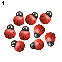 Carry stone HearBeauty 100 Pcs Mini 3D Plastic Ladybird Wall Stickers Home Decor Kids Toys DIY Ladybug Red Durable and Useful