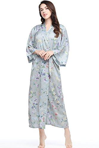 ArtiDeco Kimono Floral Largo Bata Novia Kimono de Seda Túnica de Satén 1920s Ropa de Dormir Despedida...